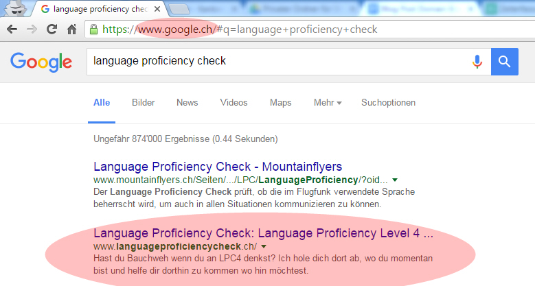 Language Proficiency Check: Google.ch