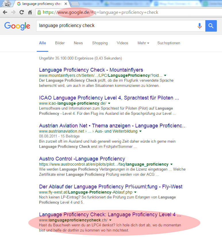Language Proficiency Check: Google.de