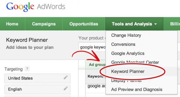 New Google Keyword Planner Tool