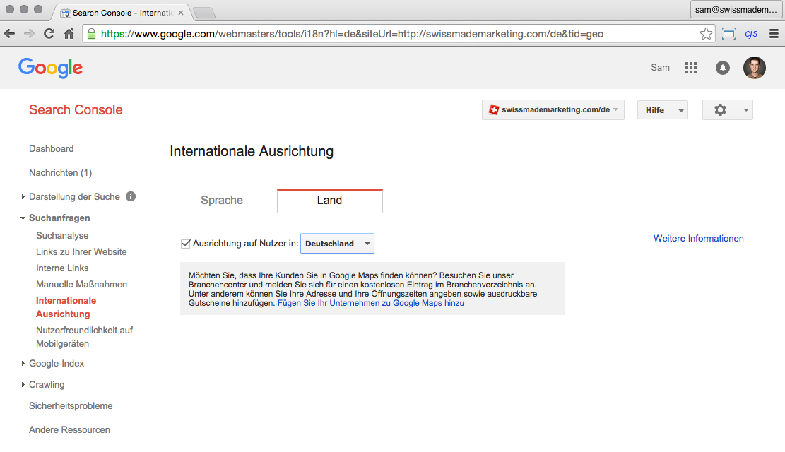 Webmaster Tools: Internationale Ausrichtung
